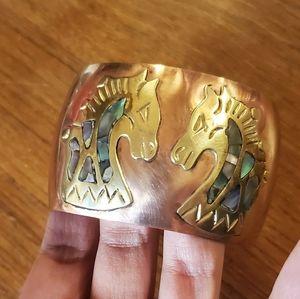 *RARE* Vintage Celia Harms Copper & Brass Cuff